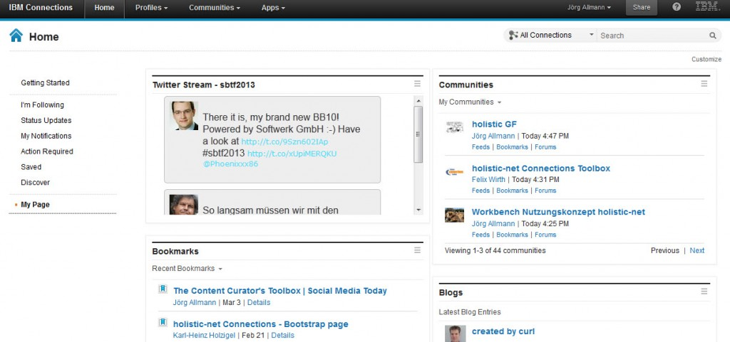 Twitter Stream in Connections